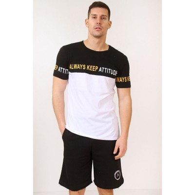 ATTITUDE T-SHIRT-BLACK/WHITE\YELLOW